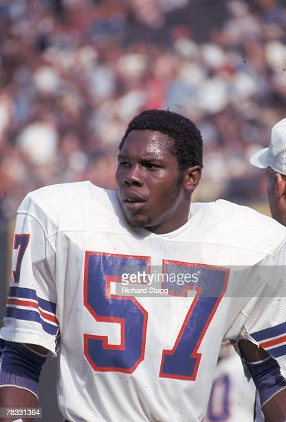 Linebacker Tom Jackson of the Denver Broncos watches from the sideline against the San Diego Chargers at San Diego Stadium on November 13 1977 in San...