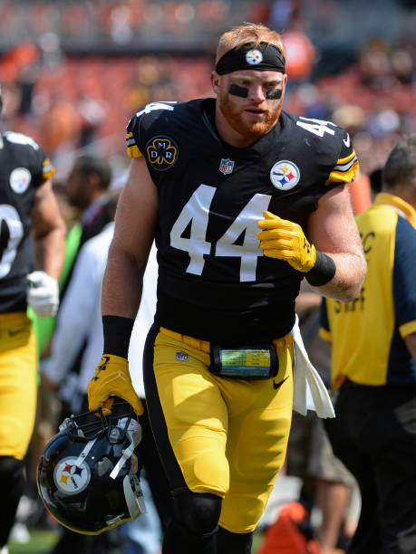 a7f12ec046e ... Linebacker Tyler Matakevich 44 of the Pittsburgh Steelers runs off the  field prior to ...