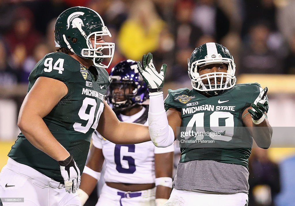 Linebacker TyQuan Hammock #49 of the Michigan State Spartans reacts after a 29 yard reception against the TCU Horned Frogs during the third quarter of the Buffalo Wild Wings Bowl at Sun Devil Stadium on December 29, 2012 in Tempe, Arizona. The Spartans defeated the Horned Frogs 17-16.