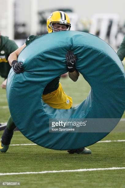 Linebacker Vince Biegel tackles an obstacle during the Green Bay Packers rookie camp on May 5 2017 at the Don Hutson Center in Green Bay WI