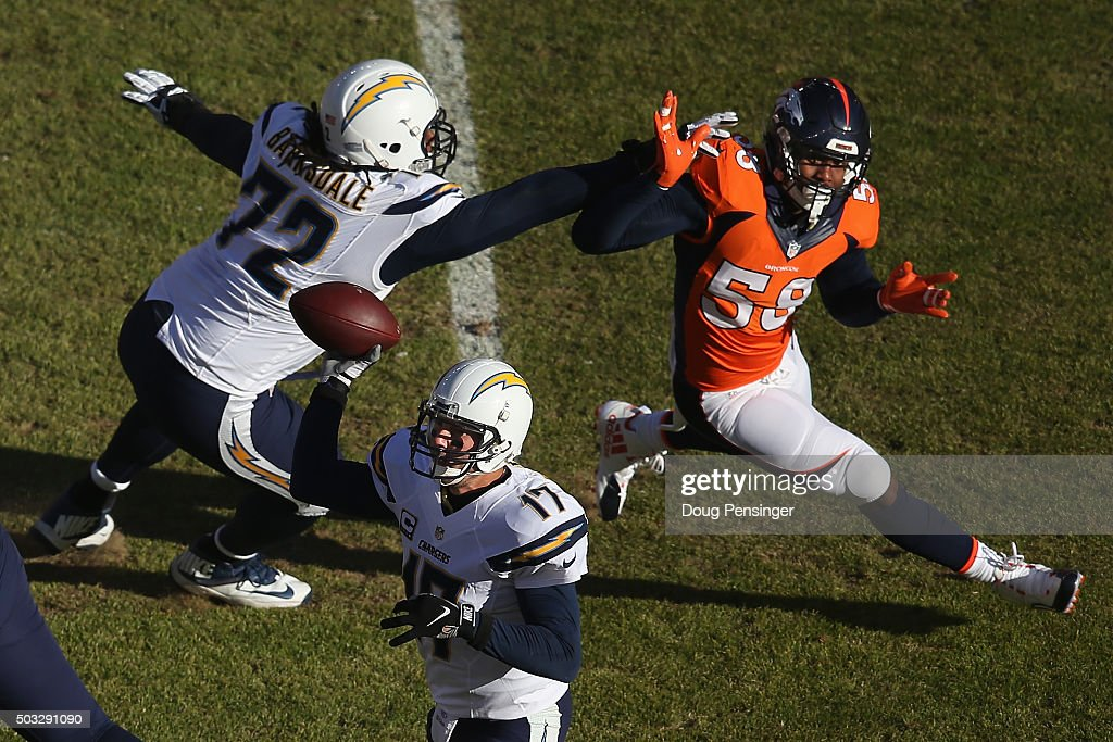 Linebacker <a gi-track='captionPersonalityLinkClicked' href=/galleries/search?phrase=Von+Miller&family=editorial&specificpeople=7125735 ng-click='$event.stopPropagation()'>Von Miller</a> #58 of the Denver Broncos battled the block of offensive tackle <a gi-track='captionPersonalityLinkClicked' href=/galleries/search?phrase=Joe+Barksdale&family=editorial&specificpeople=8045269 ng-click='$event.stopPropagation()'>Joe Barksdale</a> #72 of the San Diego Chargers as he pursues quarterback <a gi-track='captionPersonalityLinkClicked' href=/galleries/search?phrase=Philip+Rivers&family=editorial&specificpeople=212885 ng-click='$event.stopPropagation()'>Philip Rivers</a> #17 of the San Diego Chargers delivers a pass against the Denver Broncos at Sports Authority Field at Mile High on January 3, 2016 in Denver, Colorado.
