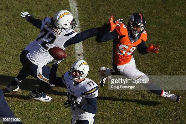 Linebacker Von Miller of the Denver Broncos battled the block of offensive tackle Joe Barksdale of the San Diego Chargers as he pursues quarterback...