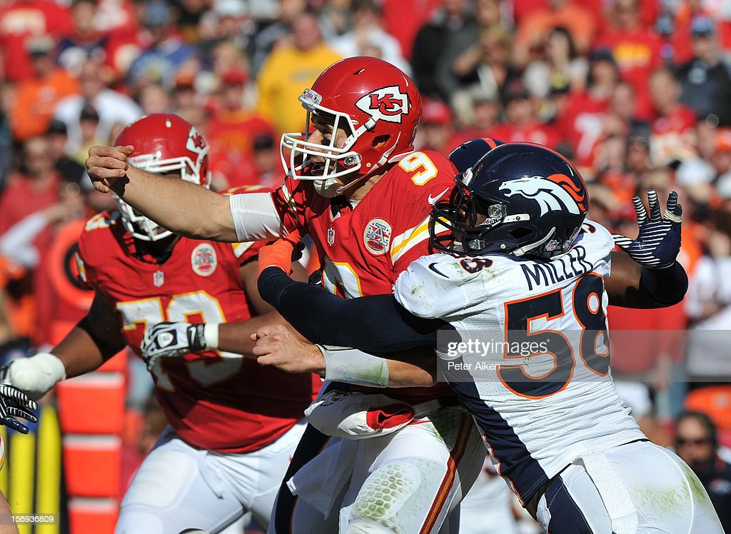 Linebacker Von Miller #58 of the Denver Broncos pressures quarterback Brady Quinn #9 of the Kansas City Chiefs during the first half on November 25, 2012 at Arrowhead Stadium in Kansas City, Missouri.