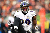 Linebacker Za'Darius Smith of the Baltimore Ravens celebrates after a sack during the second quarter against the Cincinnati Bengals at Paul Brown...
