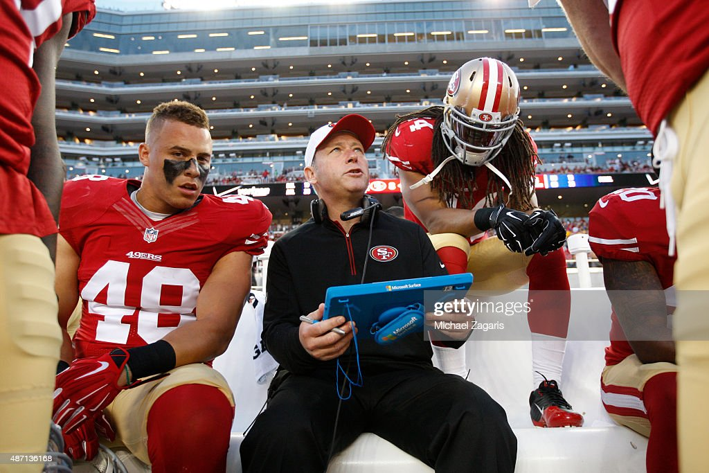Linebackers Coach <a gi-track='captionPersonalityLinkClicked' href=/galleries/search?phrase=Clancy+Pendergast&family=editorial&specificpeople=775286 ng-click='$event.stopPropagation()'>Clancy Pendergast</a> of the San Francisco 49ers talks with <a gi-track='captionPersonalityLinkClicked' href=/galleries/search?phrase=Shayne+Skov&family=editorial&specificpeople=6362886 ng-click='$event.stopPropagation()'>Shayne Skov</a> #48 and the other linebackers during the game against the San Diego Chargers at Levi Stadium on September 3, 2015 in Santa Clara, California. The 49ers defeated the Chargers 14-12.