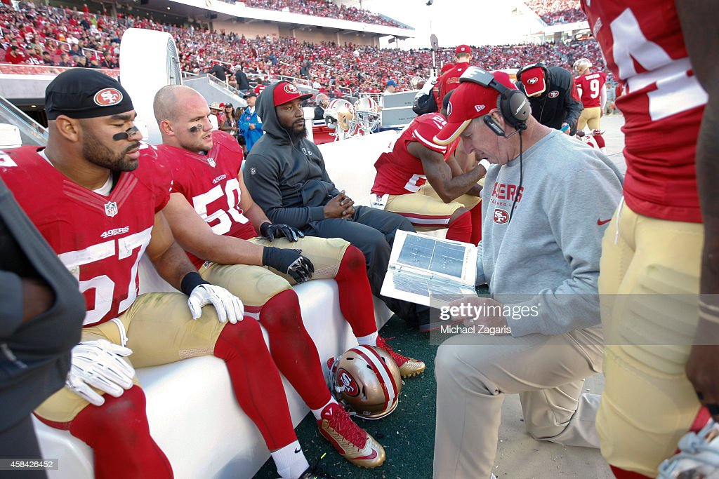Linebackers Coach Jim Leavitt of the San Francisco 49ers talks with Michael Wilhoite Chris Borland and NaVorro Bowman during the game against the St...