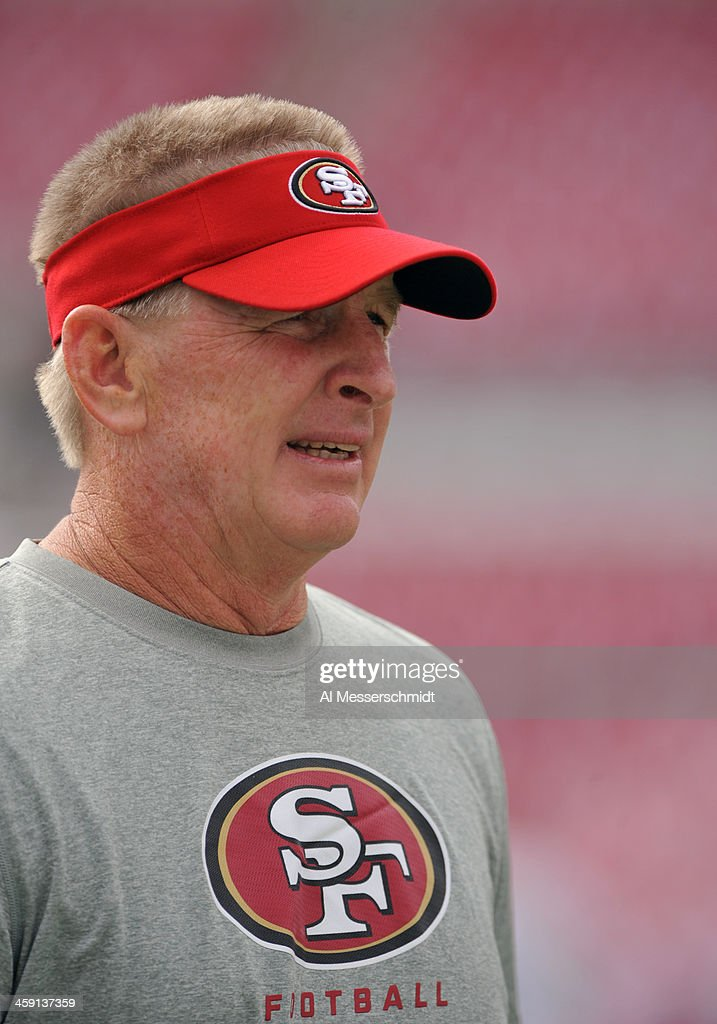 Linebackers coach Jim Leavitt of the San Francisco 49ers watches warmups before play against the Tampa Bay Buccaneers December 15 2013 at Raymond...