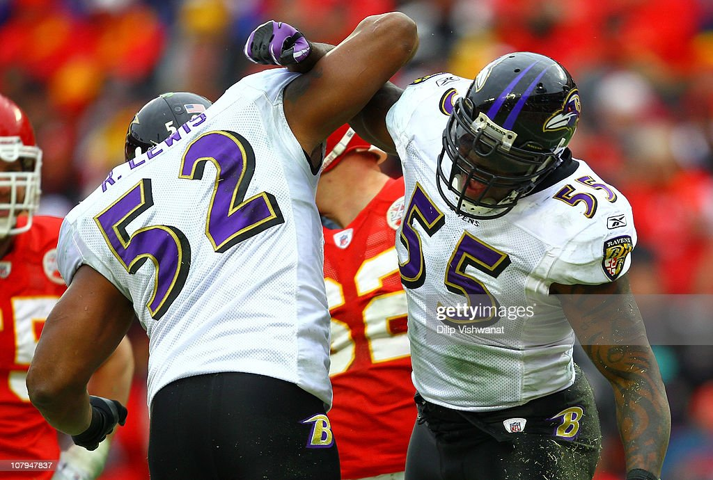 Linebackers Ray Lewis #52 and Terrell Suggs #55 of the Baltimore Ravens celebrate a play during their 2011 AFC wild card playoff game against the Kansas City Chiefs at Arrowhead Stadium on January 9, 2011 in Kansas City, Missouri.