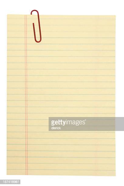 lined note paper and clip