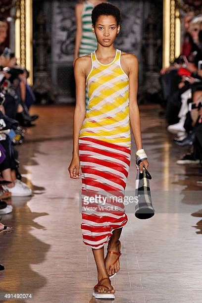 Lineisy Montero walks the runway during the Stella McCartney Ready to Wear show as part of the Paris Fashion Week Womenswear Spring/Summer 2016 on...