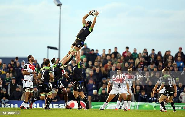 Lineout action during the European Cup rugby union pool match between Connacht Rugby and Toulouse at The Sportsground in Galway western Ireland on...