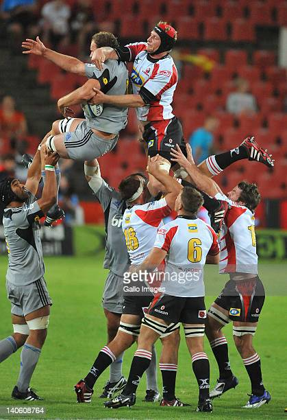 AFRICA MARCH 02 Lineout chaos during the 2012 Super Rugby match between MTN Lions and Hurricanes from Coca Cola Park on March 02 2012 in Johannesburg...