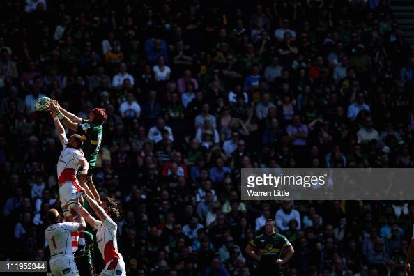 A lineout is contested during the Heineken Cup Quarter Final match between Northampton Saints and Ulster on April 10 2011 in Milton Keynes England