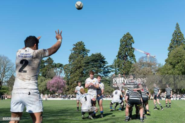 A lineout is seen during the Christchurch High School Semi Final match between Christ's College and Timaru Boys' High School on August 19 2017 in...