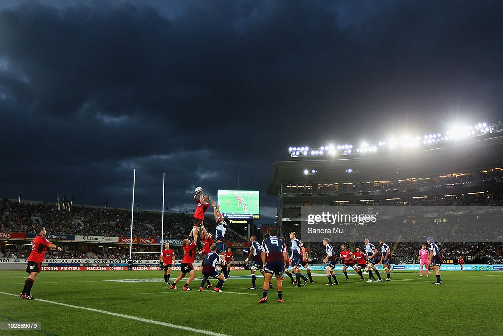 A lineout is thrown during the round 3 Super Rugby match between the Blues and the Crusaders at Eden Park on March 1, 2013 in Auckland, New Zealand.