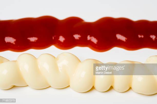 Lines of mayonnaise and ketchup