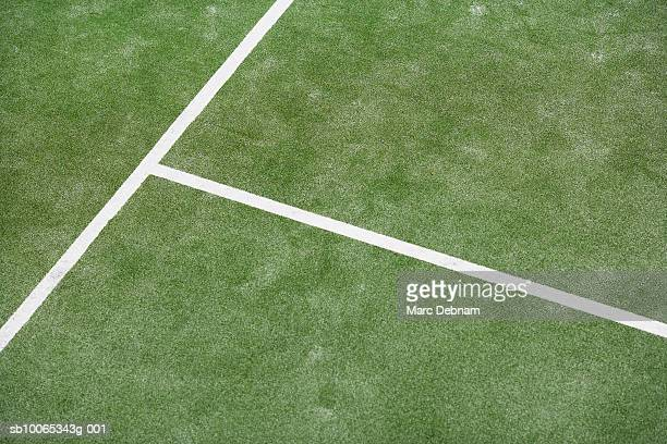 Lines on tennis court, elevated view