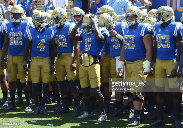 UCLA lines up by the southwest tunnel before the start of the game during a college football game between the Hawai'i Rainbow Warriors and the UCLA...