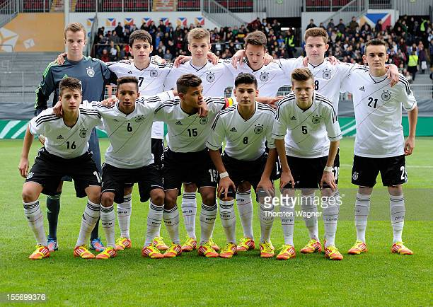 Lines up team Germany pictured prior to the U15 international friendly match between Germany and South Korea at Bruchweg stadium on November 7 2012...