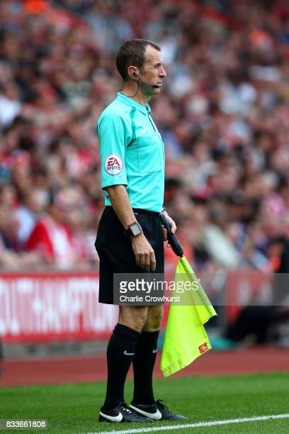 Linesman Derek Eaton during the Premier League match between Southampton and Swansea City at St Mary's Stadium on August 12 2017 in Southampton...