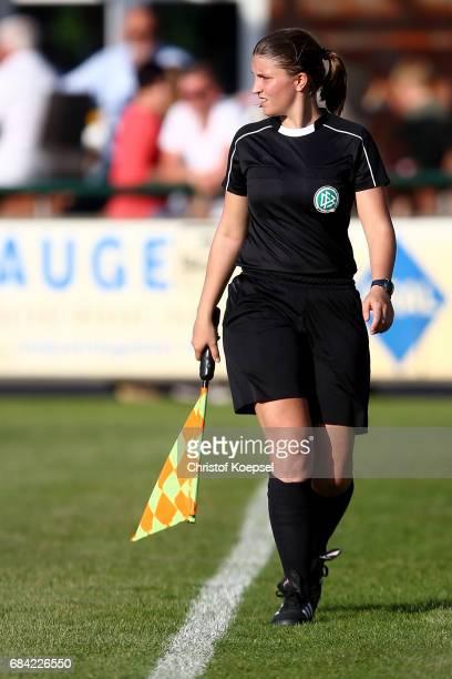 Linesman Franziska Erkes is seen during the U15 girl's international friendly match between Germany and Netherlands at Getraenke Hoffmann Stadion on...