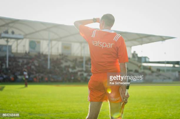 A linesman is seen during the Mitre 10 Cup Semi Final match between Canterbury and North Harbour at AMI Stadium on October 21 2017 in Christchurch...