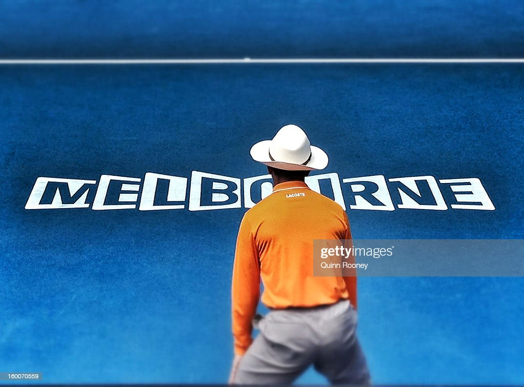 A linesman is seen on day nine of the 2013 Australian Open at Melbourne Park on January 22, 2013 in Melbourne, Australia.
