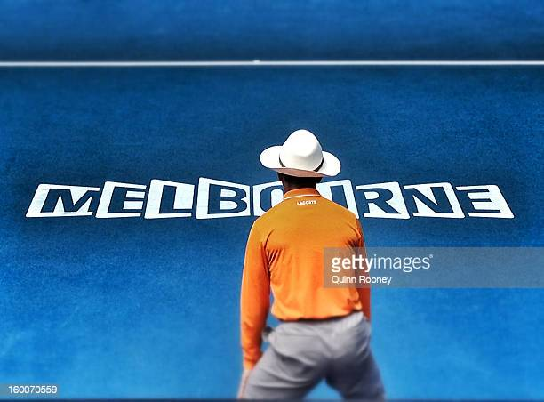 A linesman is seen on day nine of the 2013 Australian Open at Melbourne Park on January 22 2013 in Melbourne Australia