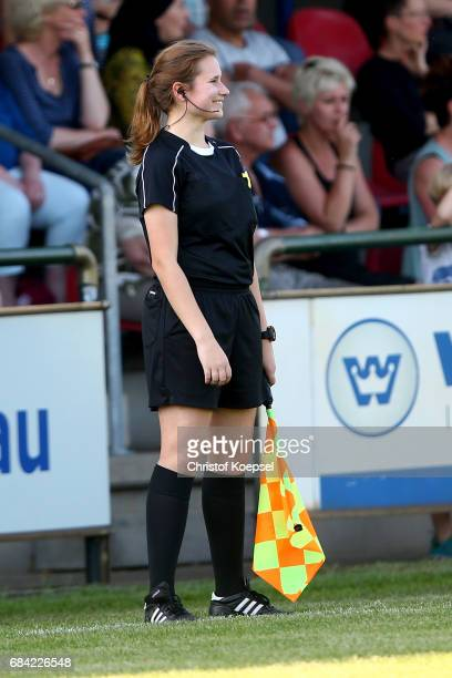 Linesman Rebecca Delbeck is seen during the U15 girl's international friendly match between Germany and Netherlands at Getraenke Hoffmann Stadion on...