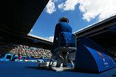 A linesman watches Madison Keys of the United States in action in her quarterfinal match against Venus Williams of the United States during day 10 of...