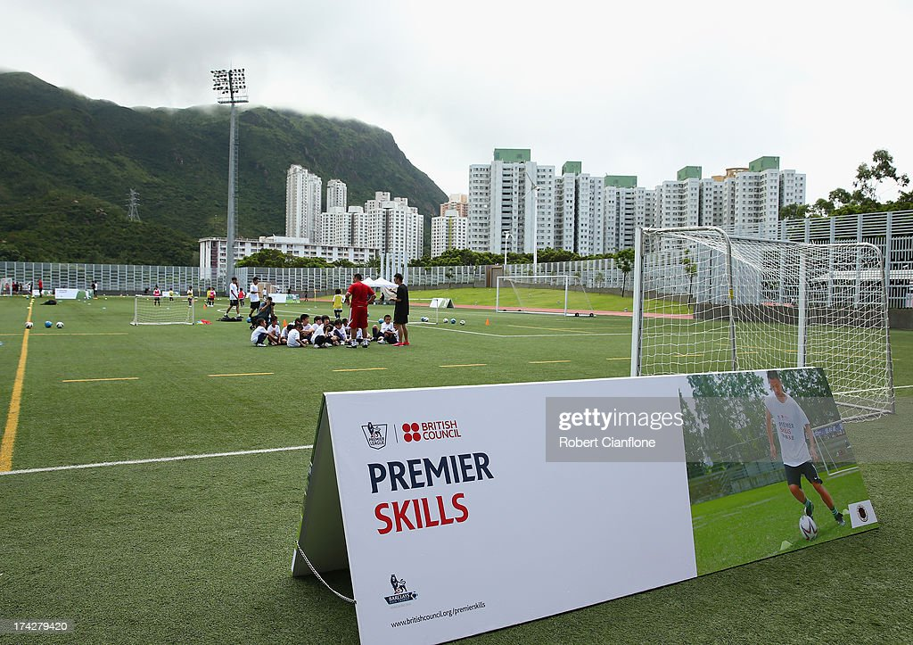 Linesmen practice their technique during the Premier Skills and Creating Chances open day on July 23, 2013 in Hong Kong, Hong Kong.