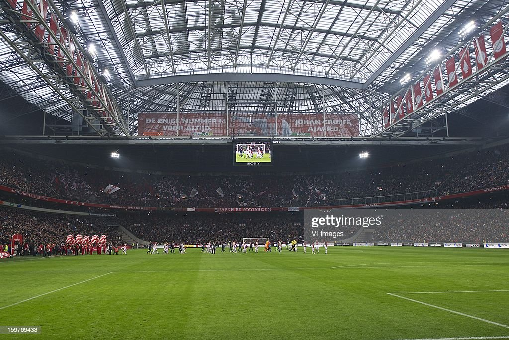 line-up during the Dutch Eredivise match between Ajax Amsterdam and Feyenoord at the Amsterdam Arena on January 20, 2013 in Amsterdam, The Netherlands.