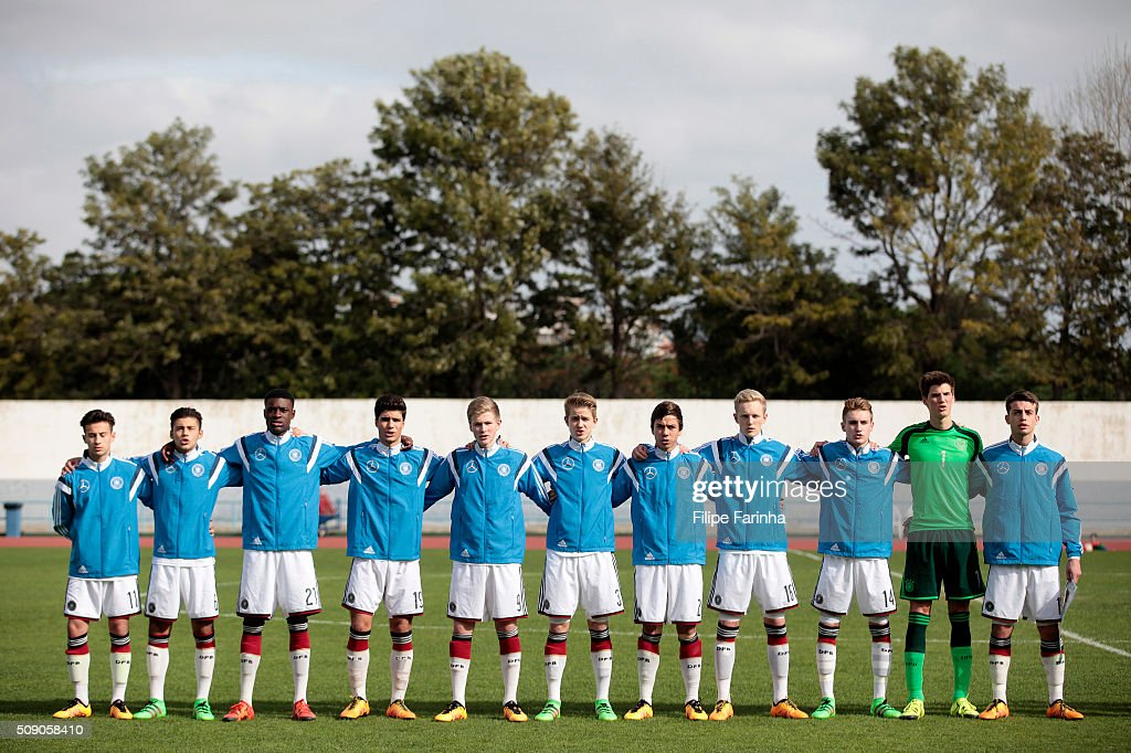 Lineup of Germany during the UEFA Under16 match between U16 Germany v U16 Netherlands on February 8, 2016 in Vila Real de Santo Antonio, Portugal. (Photo by Filipe Farinha/Bongarts/Getty Images