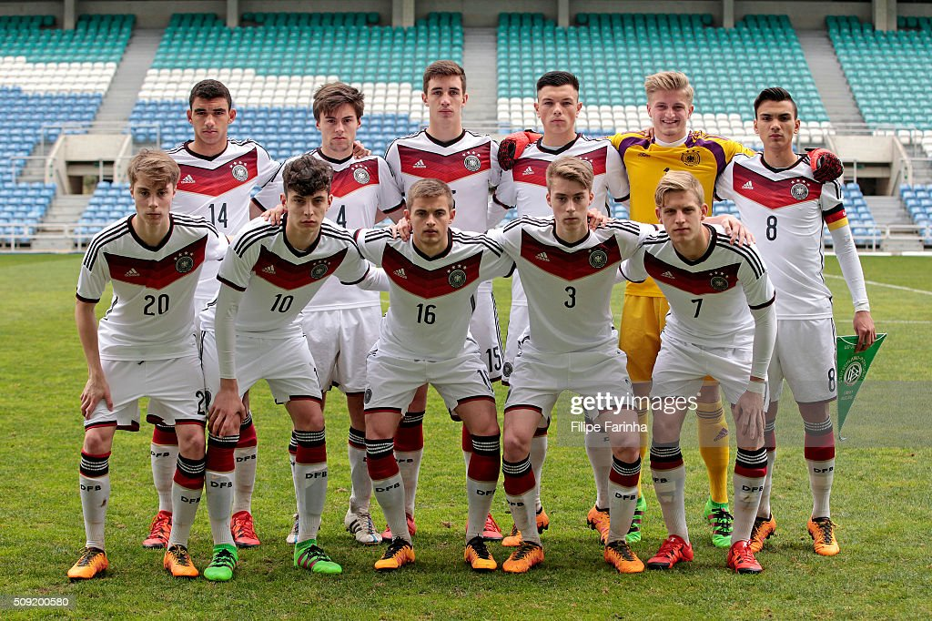 Lineup of Germany with (top) Mika Timothy Hanraths, Tom Baack, Sven Sonnenberg, Renat Dadashov, Jan-Christoph Bartels, Atakan Akkaynak, (bottom) Davide-Jerome Itter, Kai Havertz, Jan Baxmann, Gian-Luca Itter and Arne Maier during the UEFA Under17 match between U17 Portugal v U17 Germany on February 9, 2016 in Estádio Algarve, Loulé, Portugal.