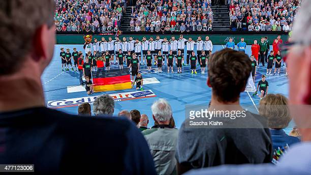 LineUp of the teams before the European Handball Championship 2016 Qualifier between Germany and Austria at Sparkassen Arena on June 14 2015 in Kiel...