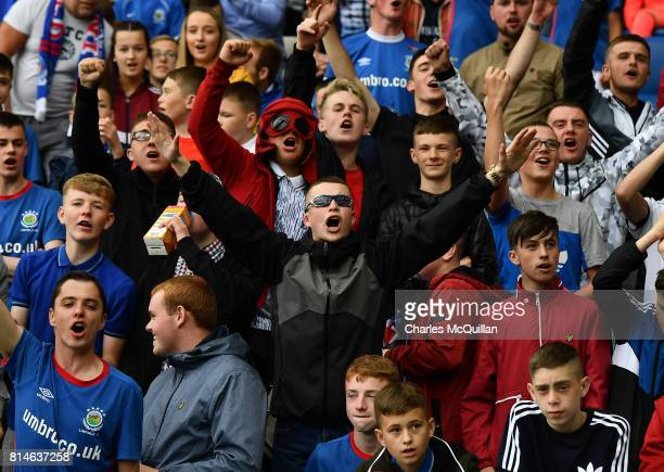 Linfield fans during the Champions League second round first leg qualifying game between Linfield and Celtic at Windsor Park on July 14 2017 in...