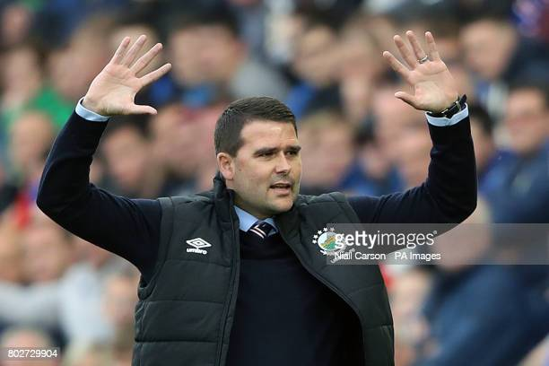 Linfield manager David Healy gestures on the touchline during the UEFA Champions League Qualifying match at Windsor Park Belfast