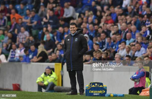 Linfield manager David Healy watches from the sidelines during the Champions League second round first leg qualifying game between Linfield and...