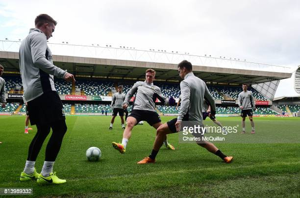 Linfield players take part in a training session at Windsor park on July 13 2017 in Belfast Northern Ireland Linfield play Celtic in a Champions...