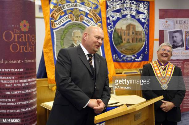 Linfield Soccer Club Manager David Jeffery's and The Orange Order Grand Master Robert Saulters at the launch of the Orange Order exhibition in Belfast