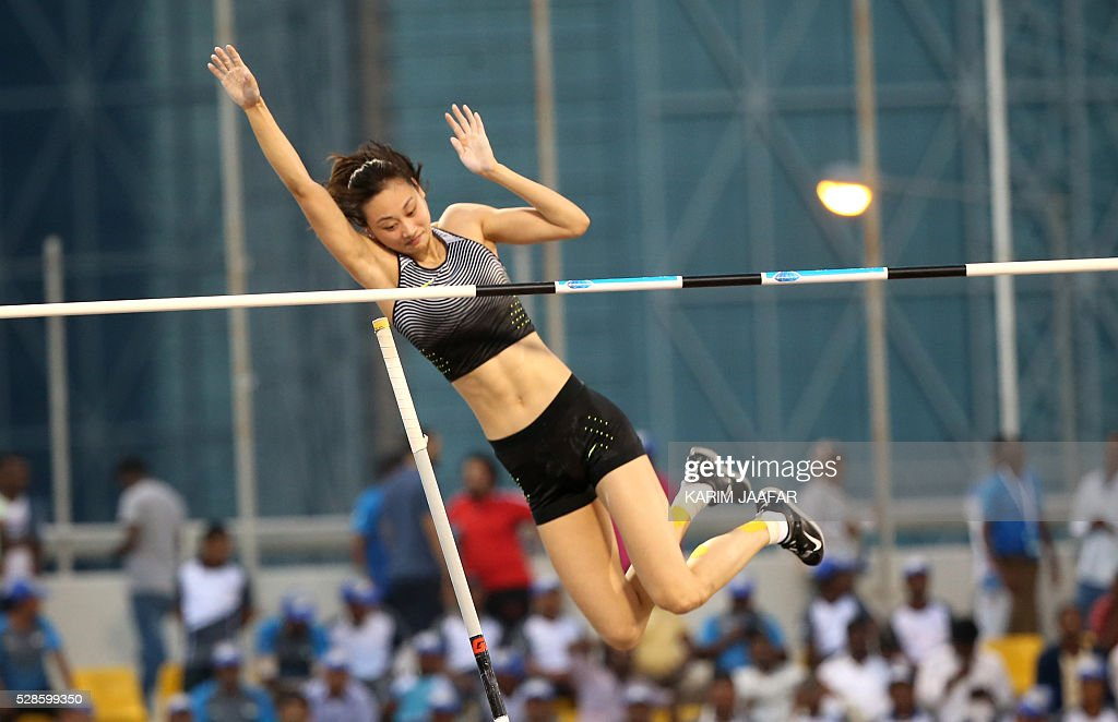 Ling Li of China competes during the Pole Vault at the Diamond League athletics competition at the Suhaim bin Hamad Stadium in Doha, on May 6, 2016. / AFP / KARIM