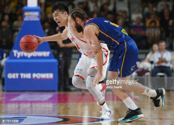 Ling Xu Zeng and Isaih Tueta during the match between the Brisbane Bullets and China at the Gold Coast Sports Leisure Centre on July 18 2017 in Gold...