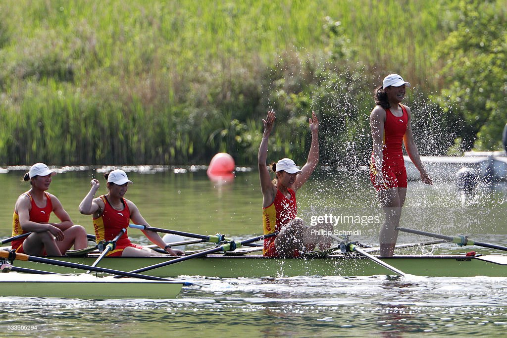 Ling Zhang, Yan Jiang, Yuwei Wang and Xinyue Zhang of China celebrate after qualifying for the 2016 Summer Olympic Games in Rio during Day 3 of the 2016 FISA European And Final Olympic Qualification Regatta at Rotsee on May 24, 2016 in Lucerne, Switzerland.