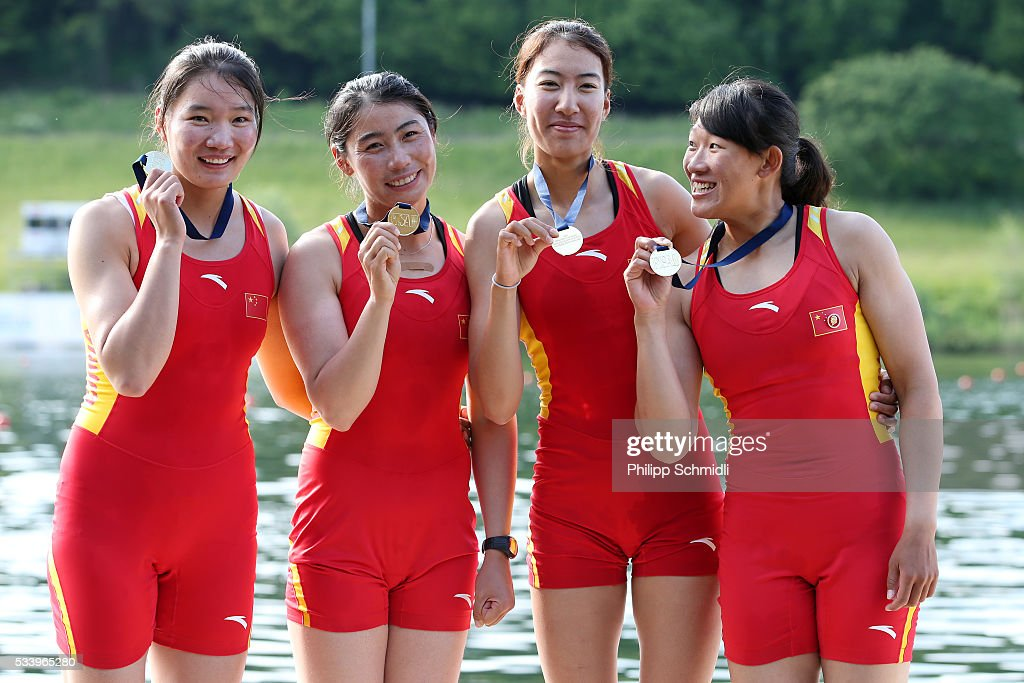 Ling Zhang, Yan Jiang, Yuwei Wang and Xinyue Zhang of China pose for a photo after qualifying for the 2016 Summer Olympic Games in Rio during Day 3 of the 2016 FISA European And Final Olympic Qualification Regatta at Rotsee on May 24, 2016 in Lucerne, Switzerland.