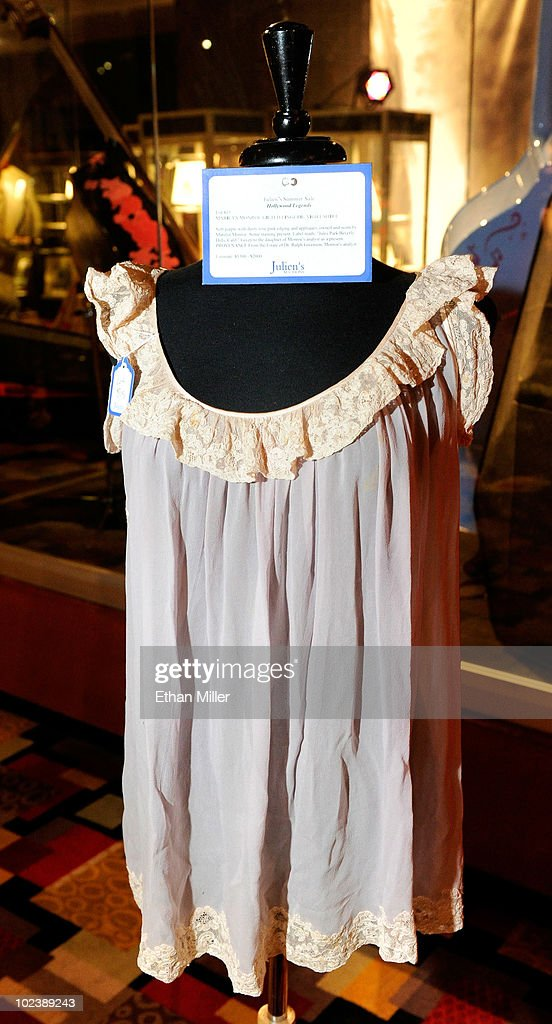 A lingerie night shirt owned and worn by Marilyn Monroe is displayed at Julien's Auctions annual summer sale at the Planet Hollywood Resort & Casino June 24, 2010 in Las Vegas, Nevada. The auction, which continues through Sunday, features 1,600 items from entertainers including Michael Jackson, Anna Nicole Smith, Marilyn Monroe, Cher, Elvis Presley and Star Trek creator Gene Roddenberry.
