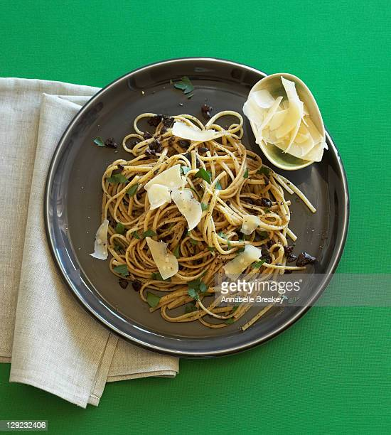 Linguine wiwth black olive tapenade and olive oil