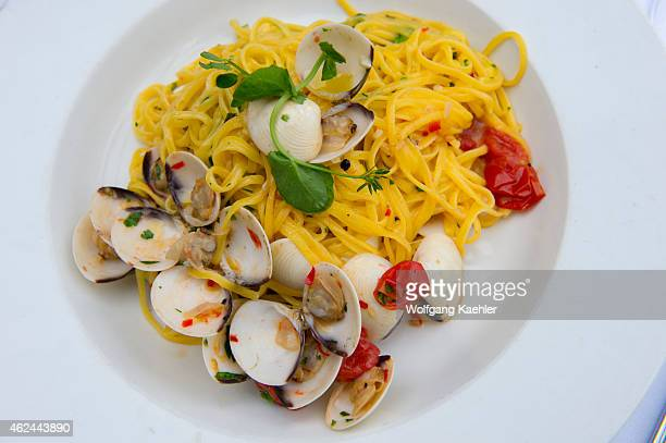 Linguini with clams served in a restaurant in Prague Czech Republic