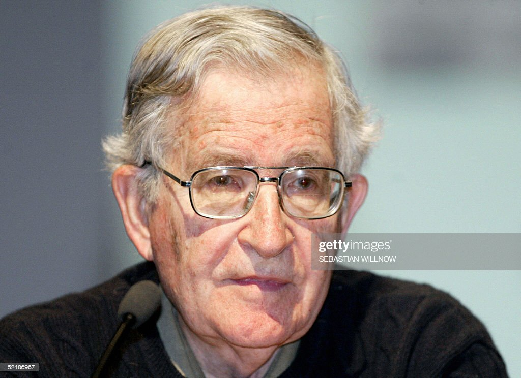 US linguist and political activist Noam Chomsky addresses a conference intitled 'Europe-Israel-Palestine' organised by the University of Leipzig 28 March 2005.
