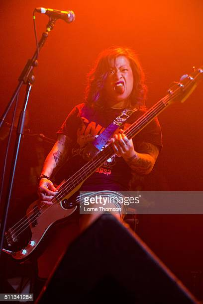 Linh Le of Bad Cop / Bad Cop performs at Electric Ballroom on February 19 2016 in London England
