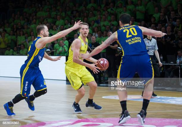 Linhart Nate of medi bayreuth and Mädrich dirk of Oldenburg battle for the ball during the easyCredit BBL match between medi bayreuth and EWE Baskets...